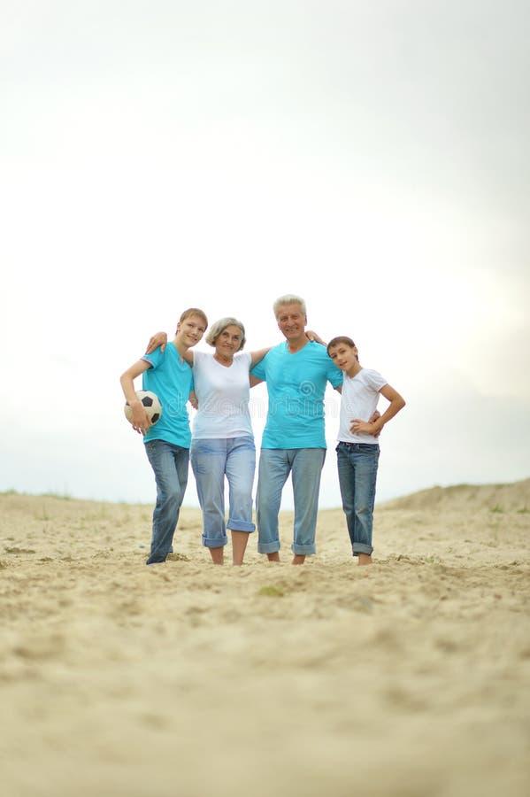 Grootouders met kleinkinderen op het strand royalty-vrije stock fotografie