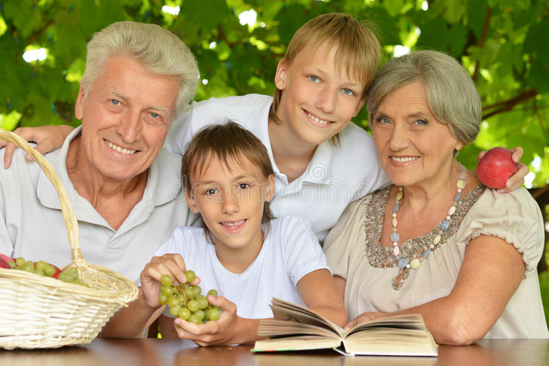 Grootouders met kleinzonen royalty-vrije stock foto