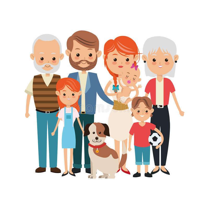 Grootouders, ouders en jonge geitjespictogram Familieontwerp Vectorgrafiek vector illustratie