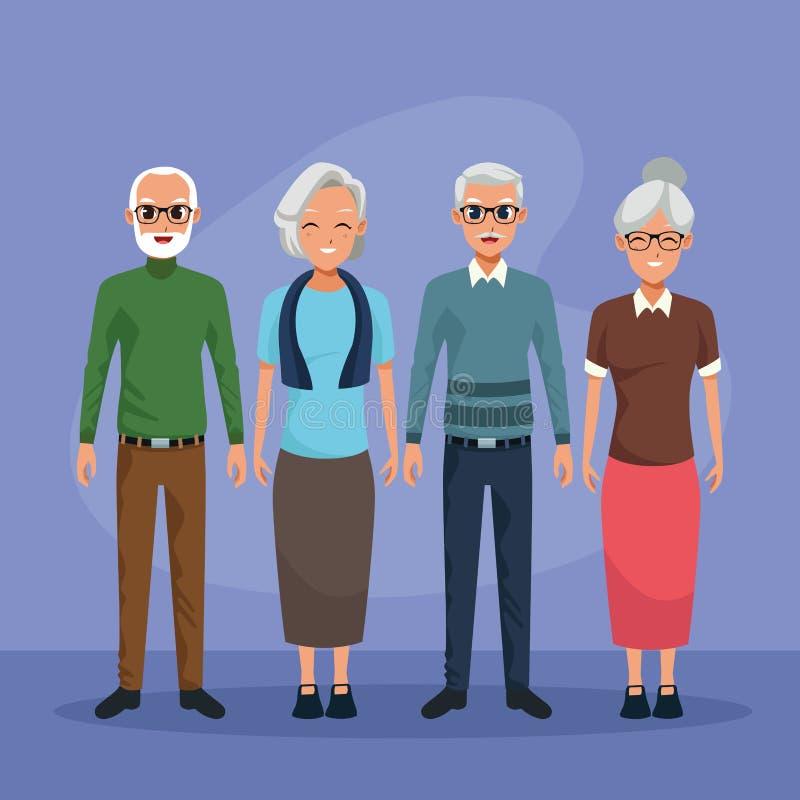 Grootouderskarakters die geïsoleerde beeldverhalen glimlachen vector illustratie