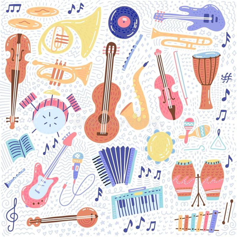 Grootse muziekset muziekinstrument en pictogrammen voor symbolen Conceptelementen cartoon Muzieknotities met Piano, Guitar, royalty-vrije stock foto's
