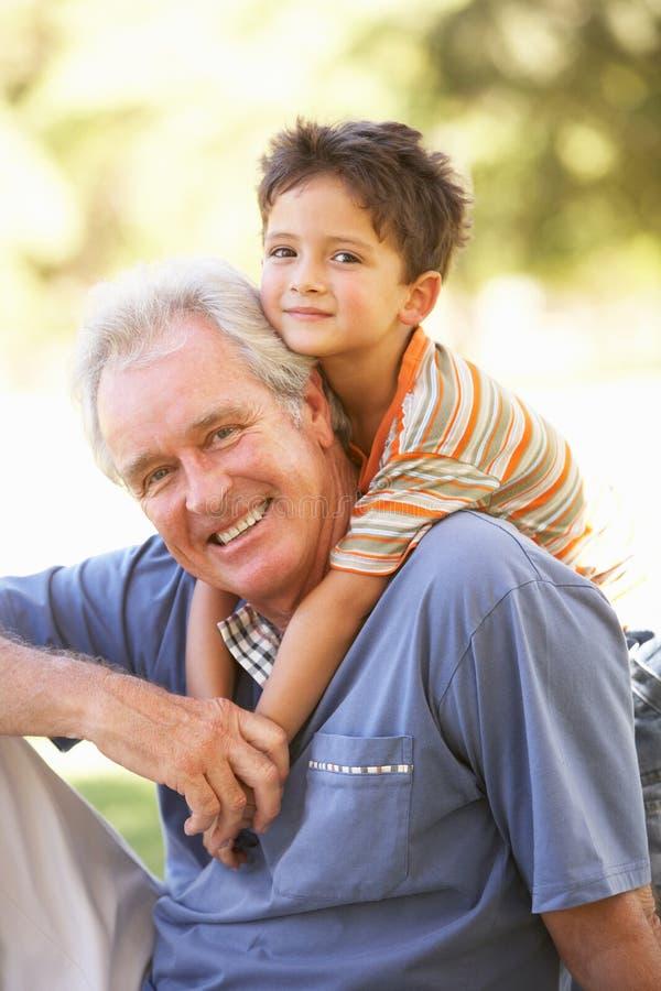 Grootvader die de Rit van de Kleinzoon op in Park teruggeeft stock fotografie