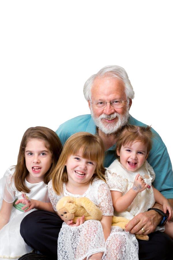 Grootvader Drie Kleindochters royalty-vrije stock foto's