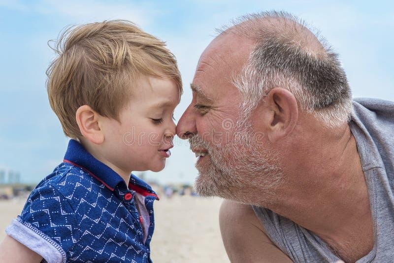 Grootvader en kleinzoon op het strand stock afbeelding