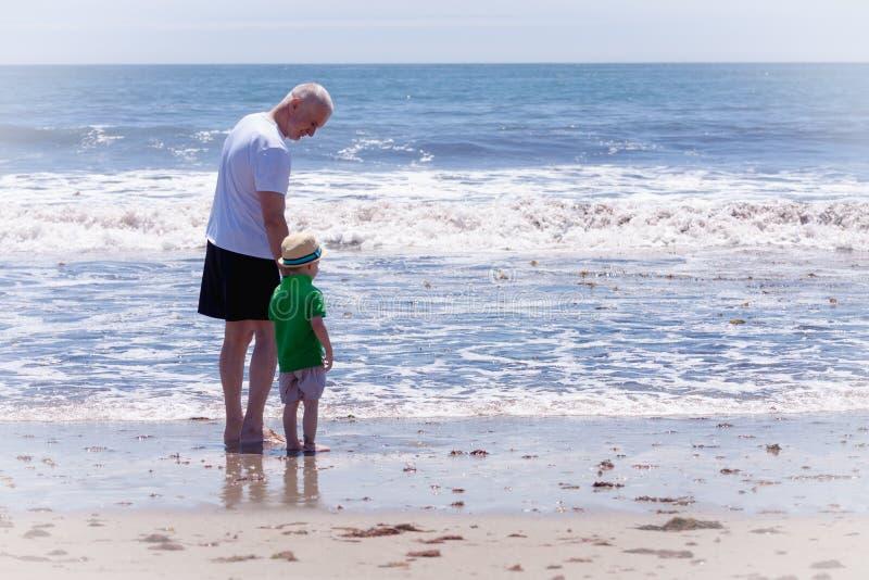 Grootvader met zijn kleinzoon die op een strand lopen stock foto