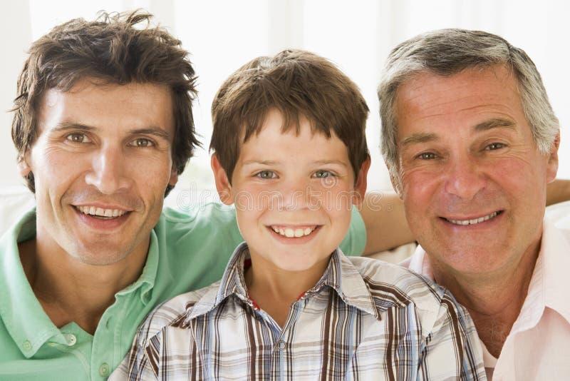 Grootvader met zoon en kleinzoon het glimlachen royalty-vrije stock foto's