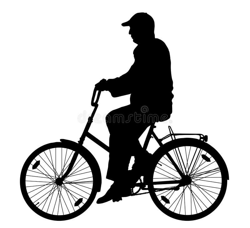 Grootvader op fietssilhouet, vector vector illustratie