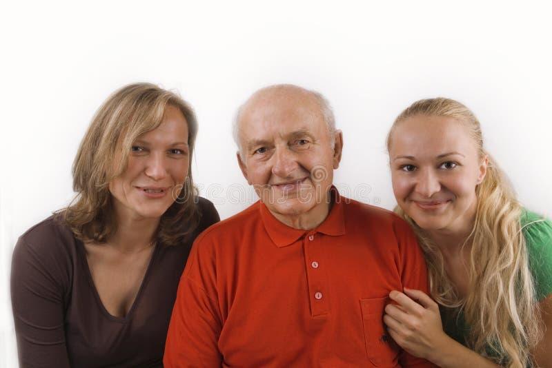 Grootvader, zijn dochter en kleindochter royalty-vrije stock afbeeldingen