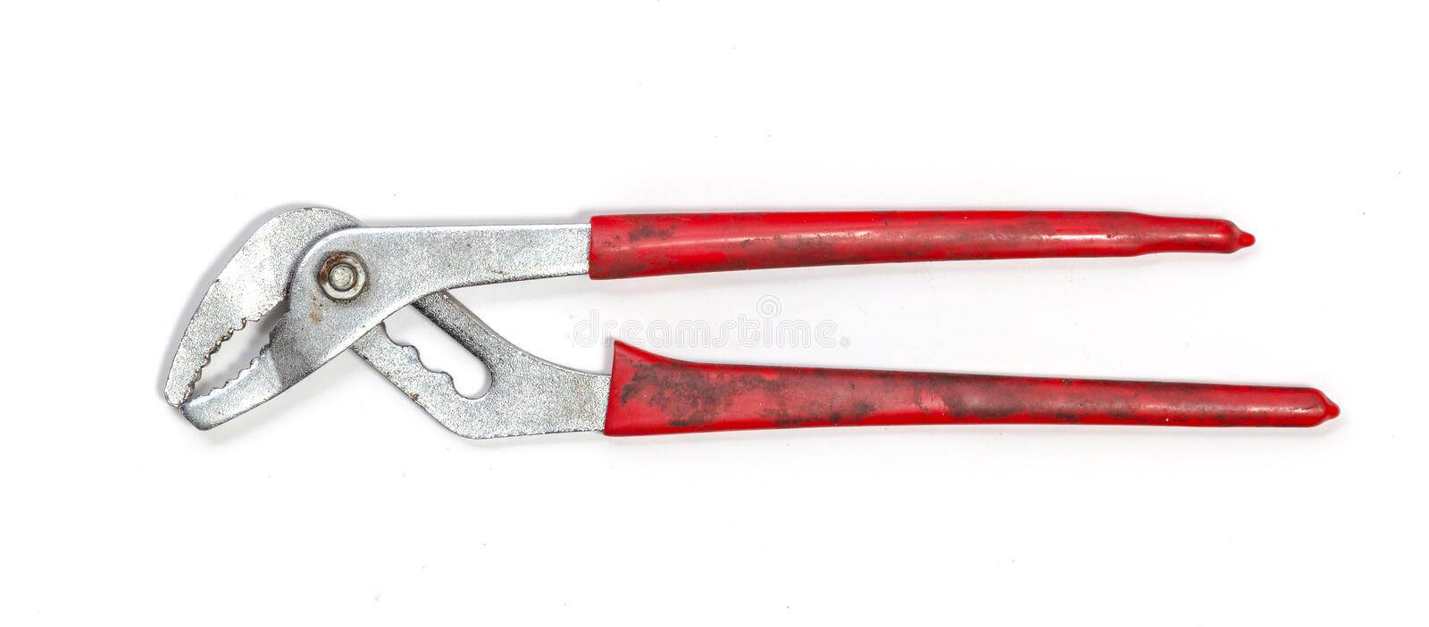 Groove pliers isolated on white stock image