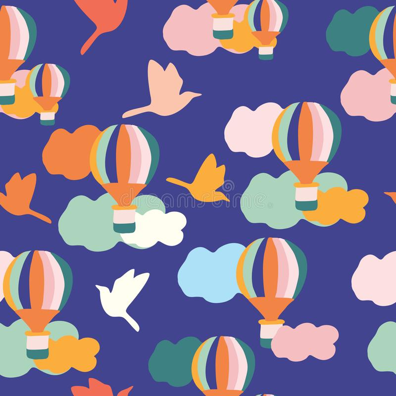 Free Groovy Balloons And Birds, In A Seamless Pattern Design Royalty Free Stock Image - 149768696