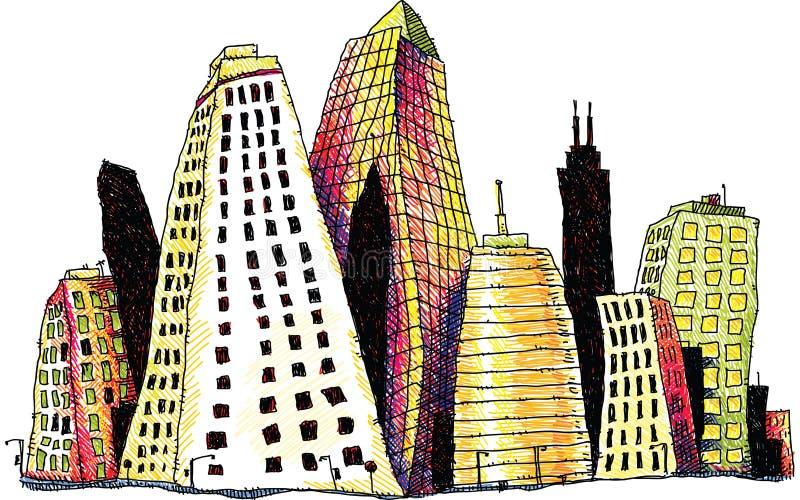 Groovy Buildings stock illustration