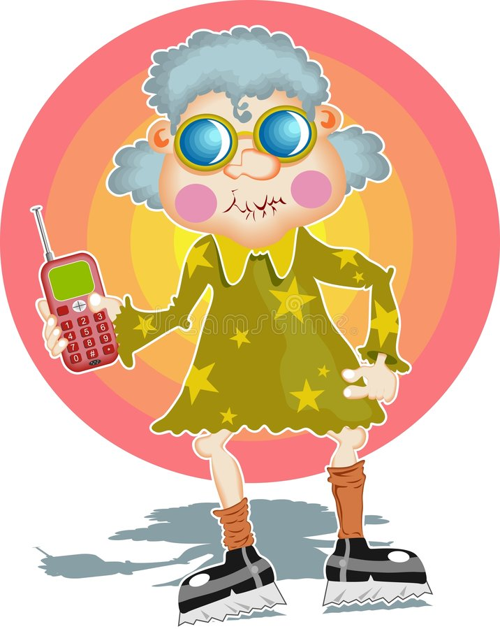 Download Groovy granny vektor illustrationer. Bild av användare, teknologi - 49934