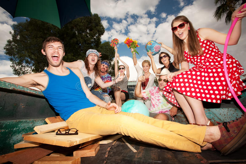 Groovy Group in the Back of Truck. Making Noise royalty free stock photography