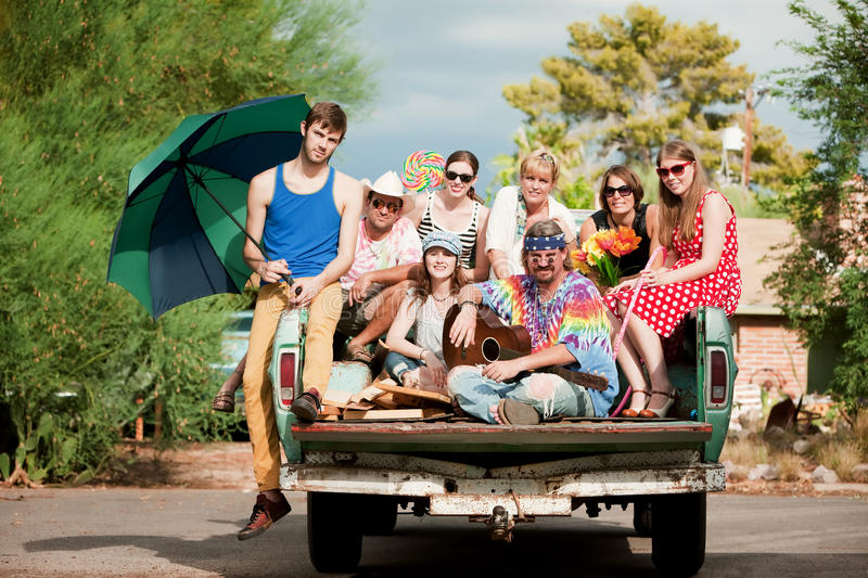 Groovy Group in the Back of Truck. Portrait of Groovy Group in the Back of Truck royalty free stock photos