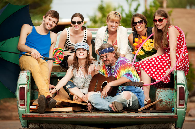 Groovy Group in the Back of Truck. Portrait of Groovy Group in the Back of Truck stock image