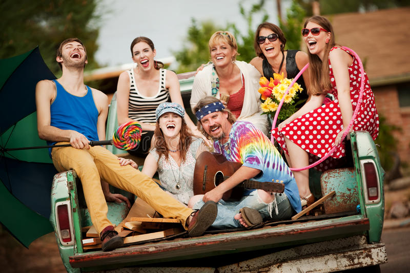 Download Groovy Group In The Back Of Truck Stock Photo - Image: 11013798