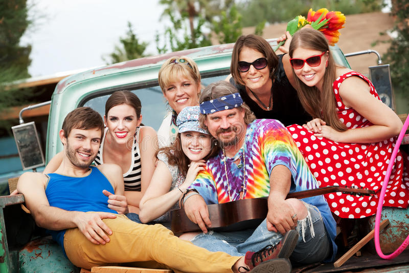 Groovy Group in the Back of Truck. Smiling stock images