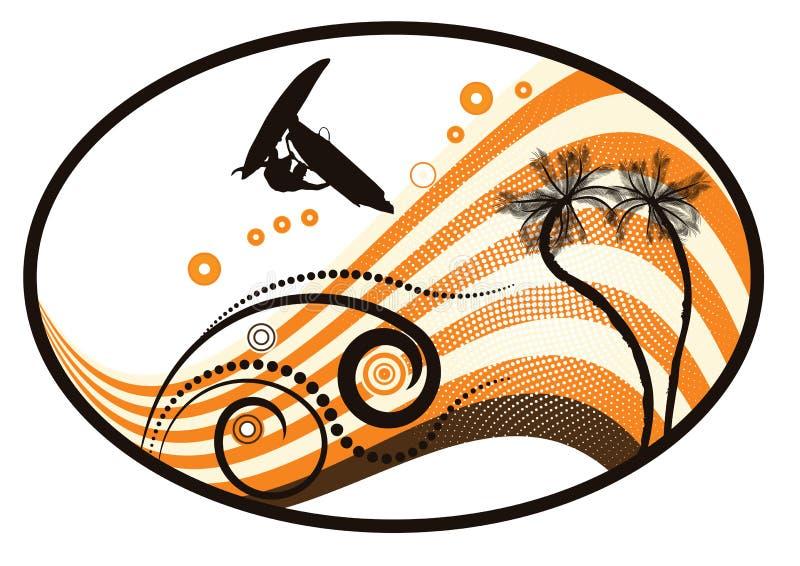 Groovy grunge vector tropical vector illustration