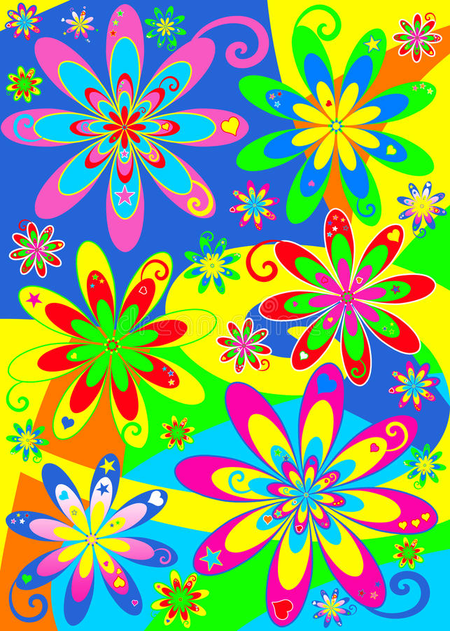 groovy hippieström för blomma royaltyfri illustrationer