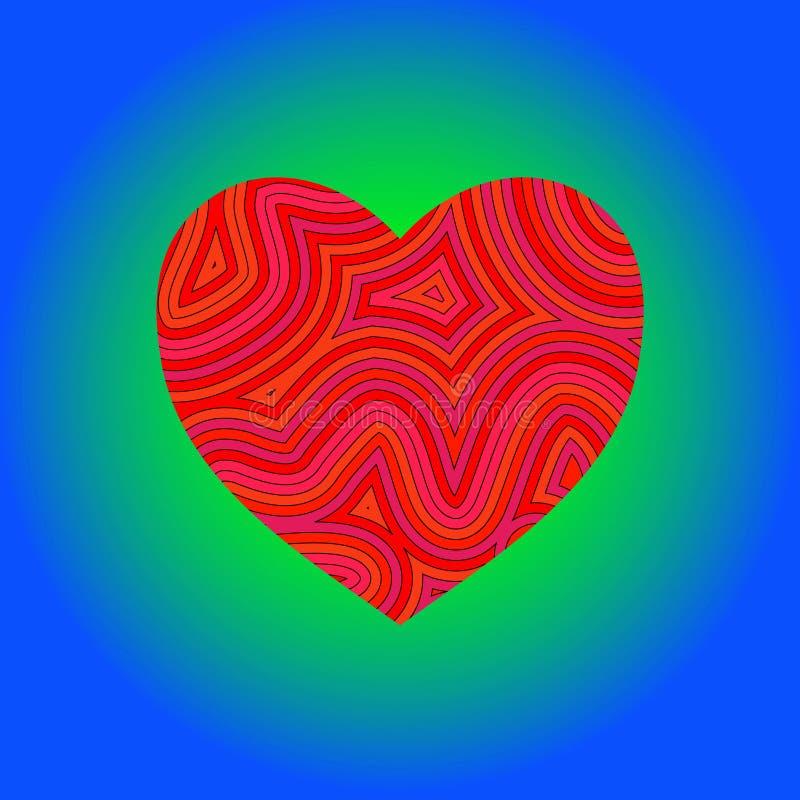 groovy hjärta stock illustrationer