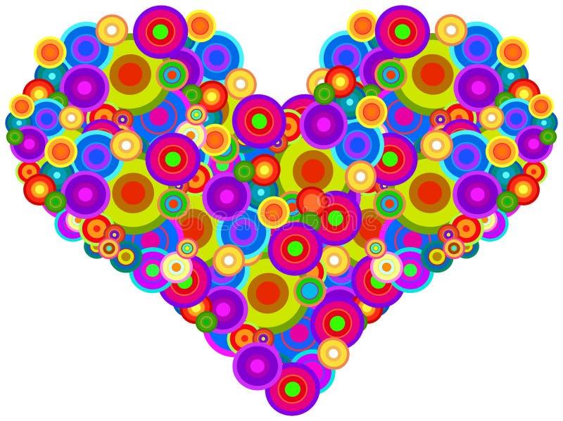 Groovy hjärta vektor illustrationer