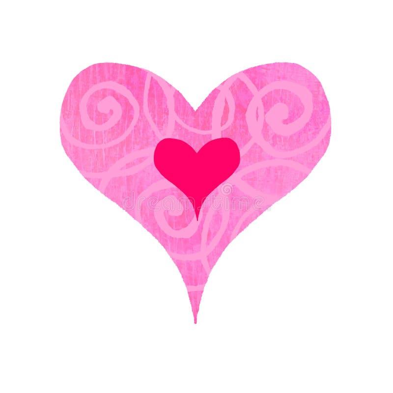 groovy hjärta swirly vektor illustrationer