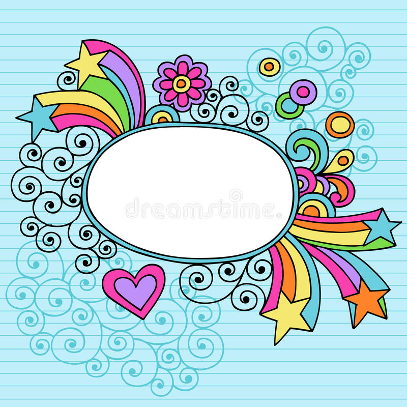 Download Groovy Large Oval Frame Notebook Doodle Vector Stock Vector - Image: 12183177