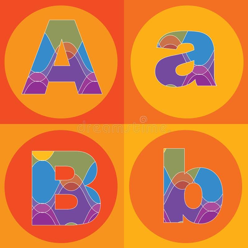 groovy linjer kvadrater för alfabet vektor illustrationer