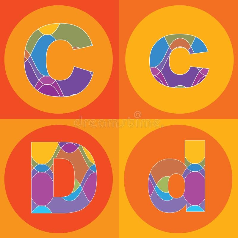 groovy linjer kvadrater för alfabet stock illustrationer