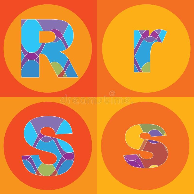 groovy linjer kvadrater för alfabet royaltyfri illustrationer