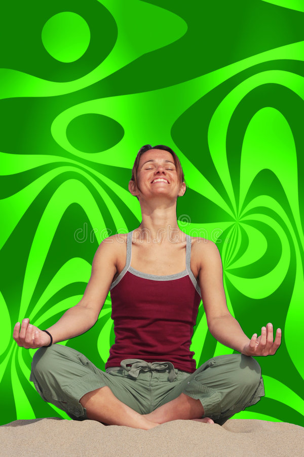Groovy Meditation. A girl sitting in a yoga pose against a groovy background royalty free stock photo