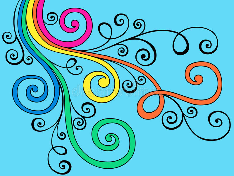 Groovy Psychedelic Doodle Swirls Vector royalty free illustration