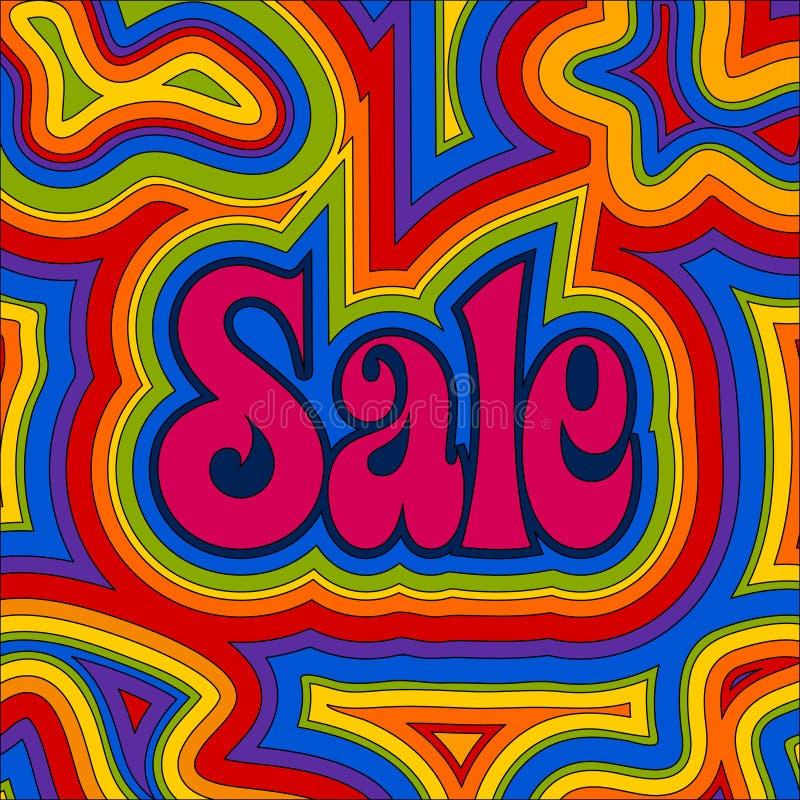 groovy regnbågeförsäljning stock illustrationer