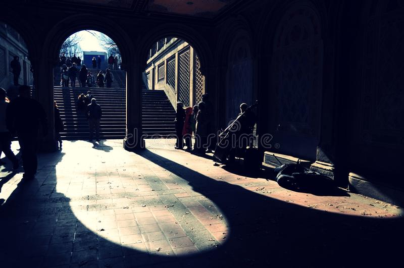 Grop of singers at Bethesda Terrace, Central Park royalty free stock photos