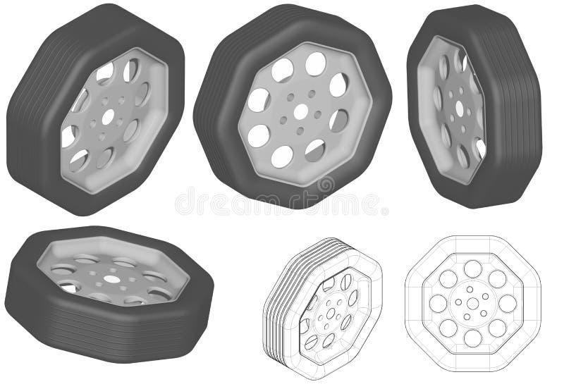 Gropigt hjul stock illustrationer