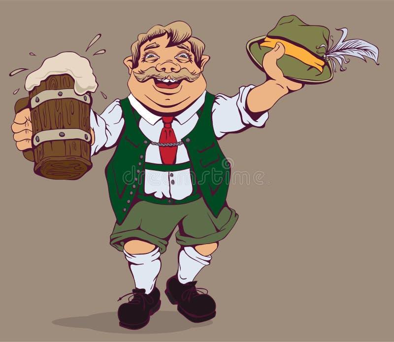 Gros Allemand ivre avec de la bière illustration stock