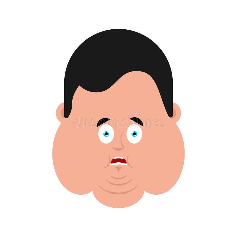 Gros avatar d'émotion de visage effrayé par OMG Type vaillant oh mon emoji de Dieu f illustration de vecteur