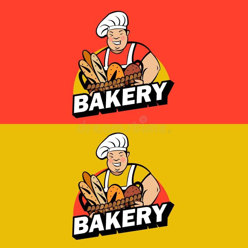 Gros Baker mignon avec un panier de pain frais Logo de boulangerie de vecteur illustration de vecteur