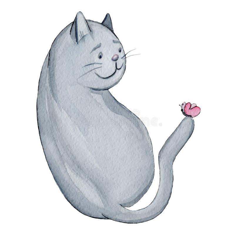 Gros chat d'aquarelle avec l'illustration de papillon illustration de vecteur