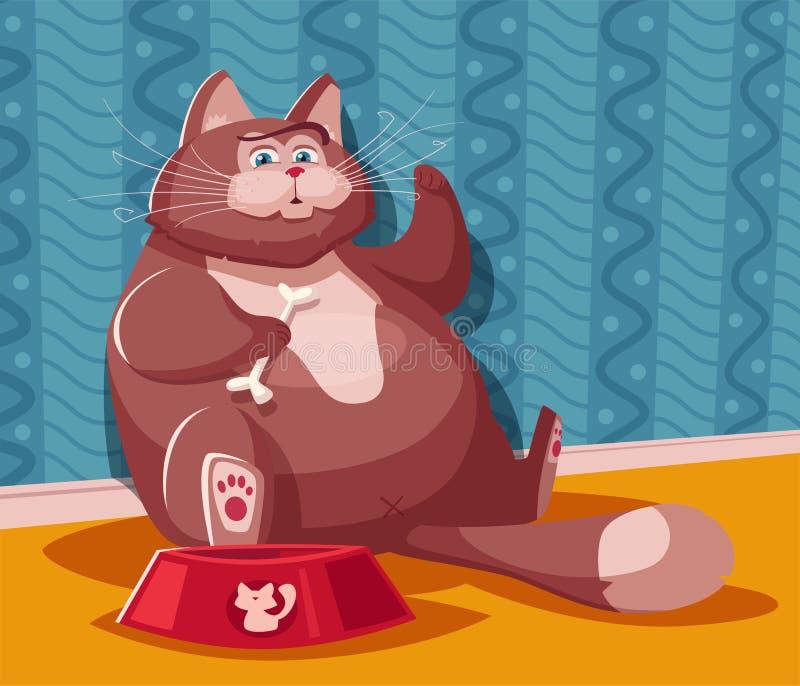 Gros chat drôle Illustration de vecteur de dessin animé Conception de personnages illustration libre de droits
