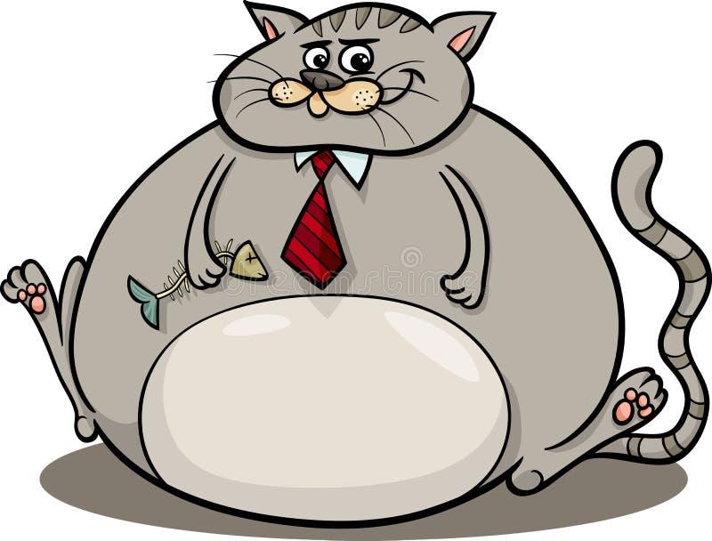Gros chat indiquant l'illustration de bande dessinée illustration de vecteur