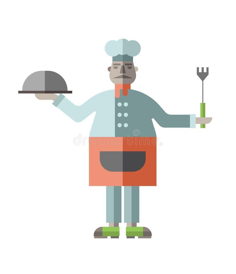 Gros chef de restaurant avec le plat préparé et fourchette dans des ses mains Dirigez l'illustration dans le style plat, d'isolem illustration de vecteur