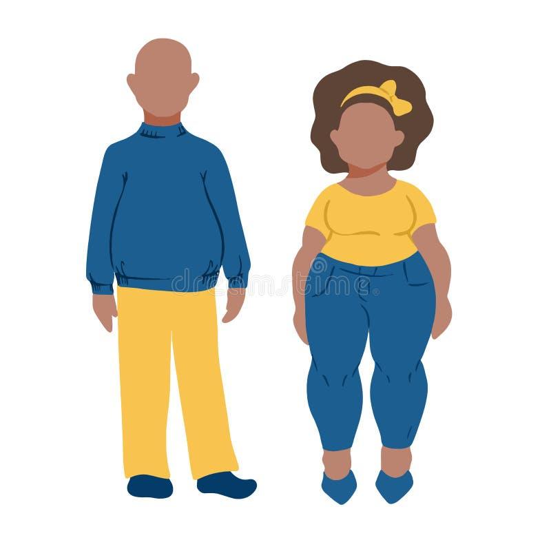 Gros couples foncés de peau Personnalités drôles de bande dessinée dans le style plat illustration libre de droits