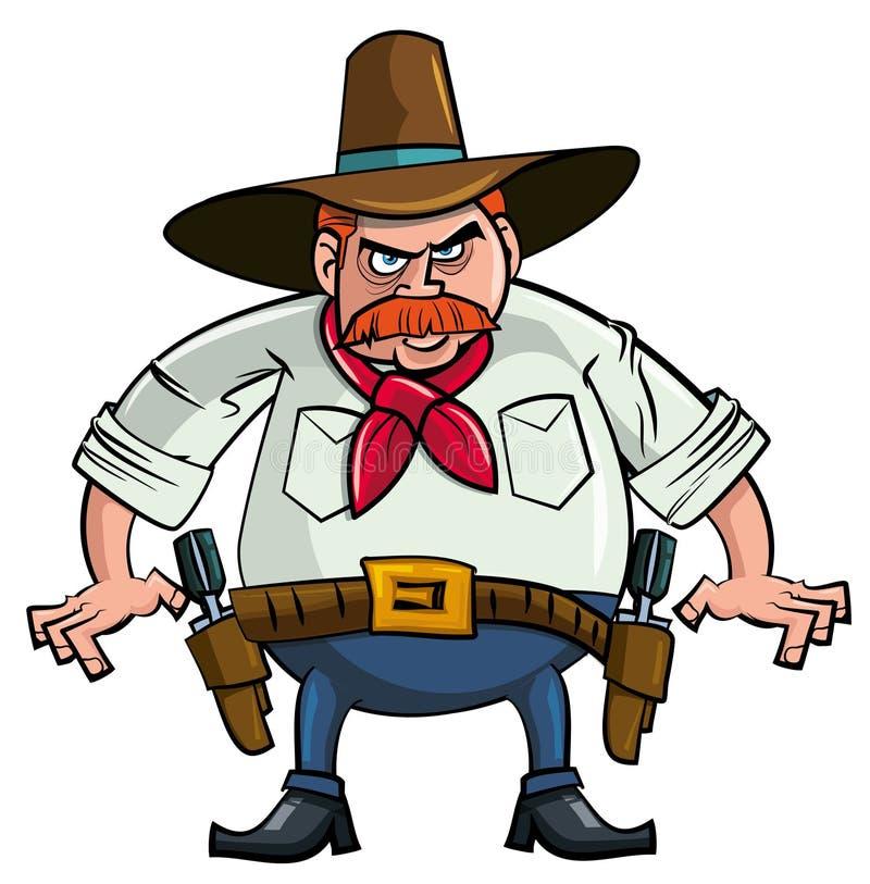 Gros cowboy de dessin animé prêt à dessiner illustration de vecteur