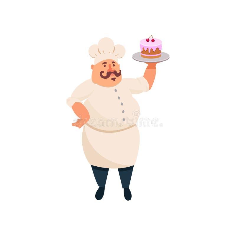 Gros cuisinier tenant le gâteau délicieux avec le glaçage rose sur le plateau argenté Restauration Caractère mustached drôle d'ho illustration stock