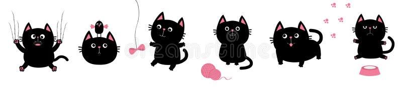 Gros ensemble noir de chat Oiseau, papillon, arc, pawprint, copie de patte de boule de boucle Éraflure de griffe de clou, séance, illustration de vecteur