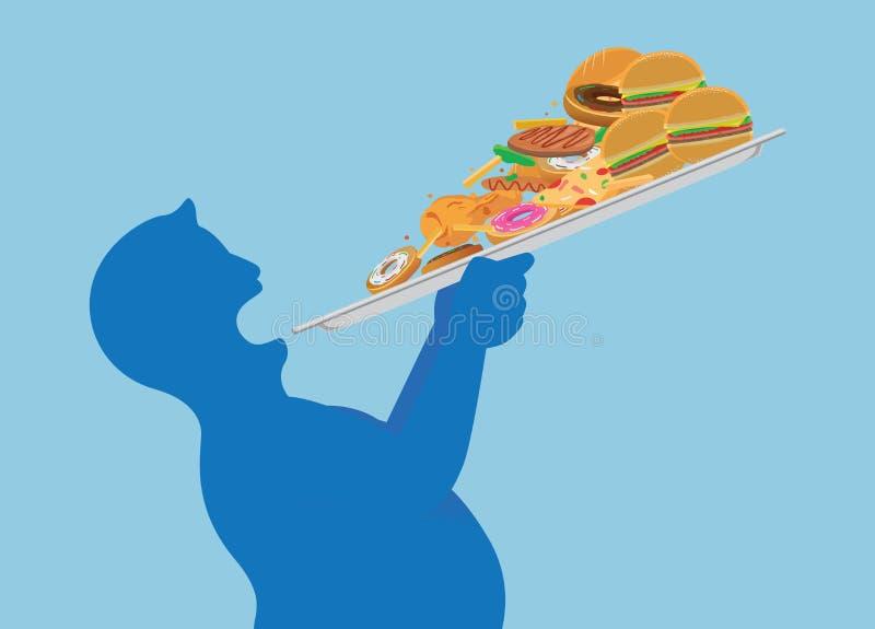 Gros essai d'homme pour dévorer toute la nourriture industrielle dans un avec soulever un plateau illustration stock