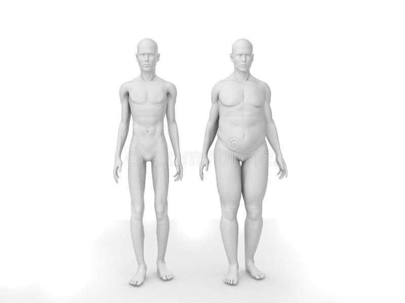 Gros et maigre homme illustration libre de droits