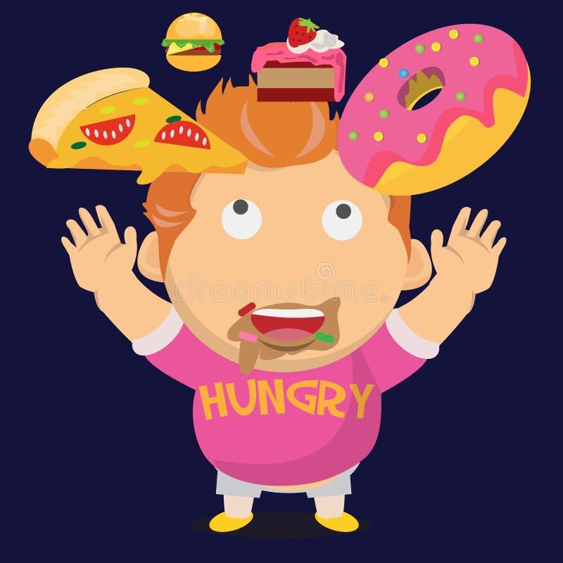 Gros garçon affamé et son dessert en baisse - illustration de vecteur