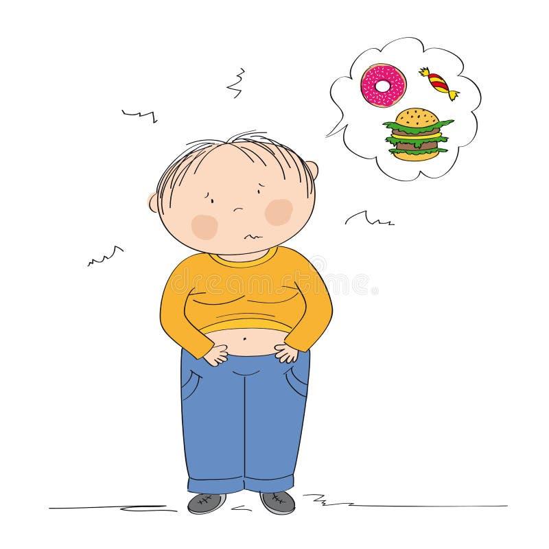 Gros garçon souffrant du mal d'estomac après qu'il ait mangé trop illustration stock